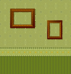 Wooden picture frame on the wall with wallpaper vector