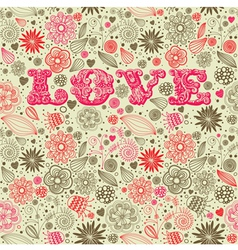 Vintage floral love background vector