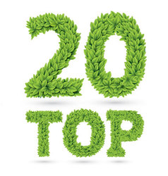 Top twenty word made of green leafs vector