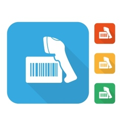 Barcode label with reader icon set vector