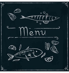 Hand drawn seafood on blackboard vector