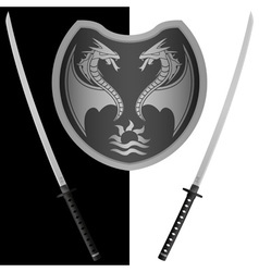 Fantasy shield and swords eighth variant vector