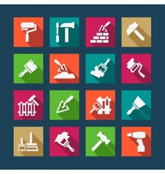 Flat construction and repair icons vector