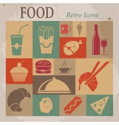 Food flat retro icons vector