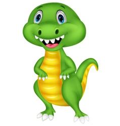 Cute green dinosaur cartoon vector