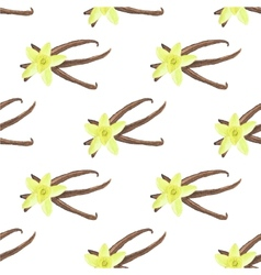 Seamless watercolor pattern with vanilla flowers vector