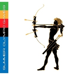 Summer olympic games archery silhouettes vector
