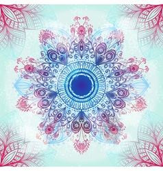 Hand drawn circular blue ornament vector