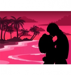 Tropical lovers vector