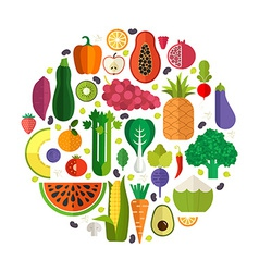 Fresh vegetables and fruits vector