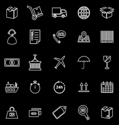 Logistics line icons on black background vector