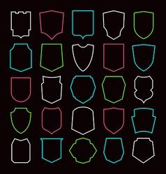 Shield contour icons set vector