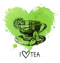 Tea background with splash watercolor heart and vector