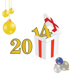 2014 year with a package and christmas ball color vector