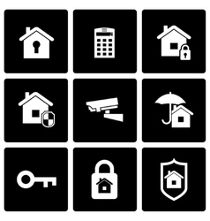 Black home security icon set vector