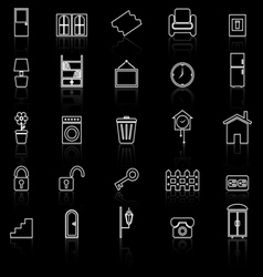 House related line icons with reflect on black vector