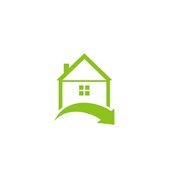 Icon eco home with leaf logo style vector