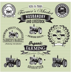 Set of labels with a tractor for livestock and cro vector