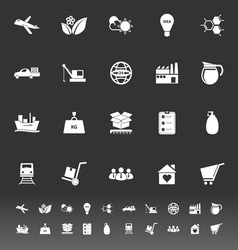 Supply chain and logistic icons on gray background vector