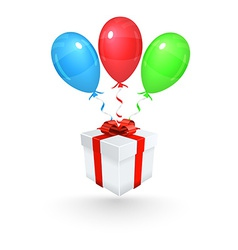 Gift with balloons background vector