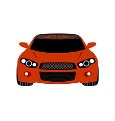 Red sport car front view vector