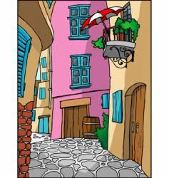 Mediterranean town alley vector