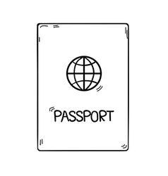 Passport in doodle style hand drawn isolated on vector