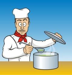 Chef testing soup vector