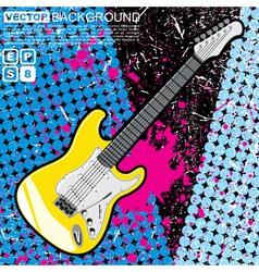 Guitar n grunge background vector