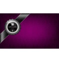 Purple gift card and black ribbon vector