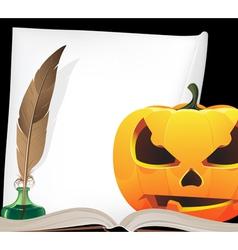 Pumpkin head and writing equipment vector