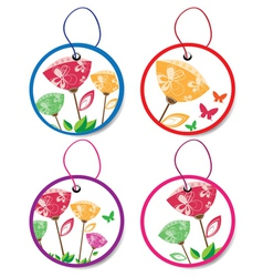 Summer floral badges vector