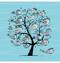 Underwater tree with funny fishes for your design vector