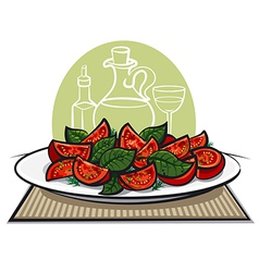 Salad with basil2 vector