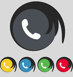 Phone support call center icon sign symbol on five vector