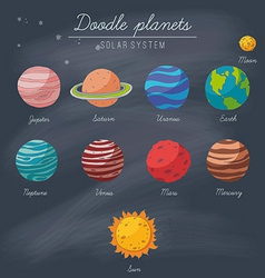 Doodle planets collection on blackboard vector