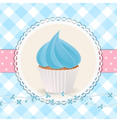 Cupcake with blue icing on blue gingham background vector