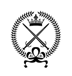 Royal emblem with crossed swords vector