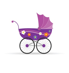 Baby carriage in pink for girl vector