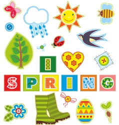 Spring set textile element vector