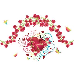 Heart with roses4 vector