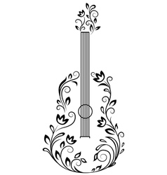Guitar with floral details vector