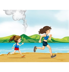 A child and a woman jogging vector