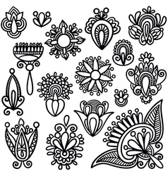Hand draw black flowers elements vector