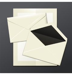 Blank white envelopes opened close and a letter vector