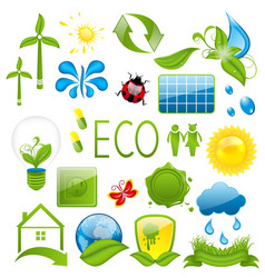 Set of green ecology icons 3 vector