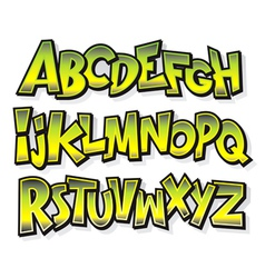 Cartoon comic doodle graffiti alphabet vector