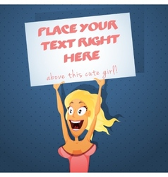 Sexy girl with text board vector