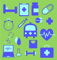 Set of health icons on green background vector
