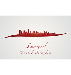 Liverpool skyline in red vector